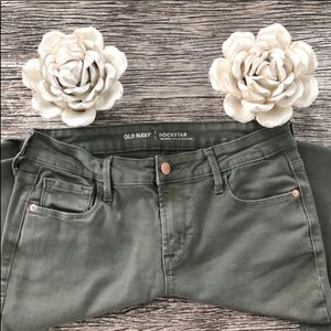 Old Navy Rockstar army green mid-rise skinny jeans